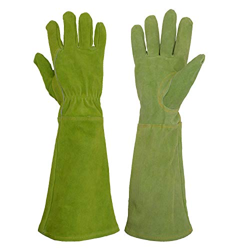 HANDLANDY Ladies Leather Gardening Gloves, Thorn Proof Long Gauntlet Heavy Duty Garden Gloves, Elbow Length Women Rose Pruning Gloves (Small, Green)