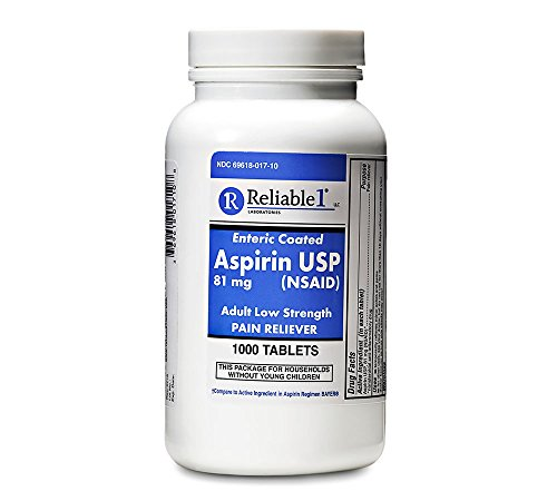 Reliable 1 Aspirin USP 81 mg (NSAID) 1000 Enteric Coated Tablets (1 Bottle) by Reliable
