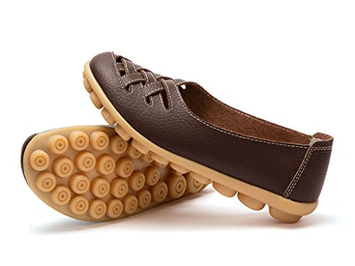 Auspicious beginning New Leather Moccasins Hollow out Flats Loafers for Women Coffee 4uX7O