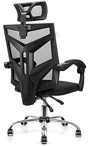 High Back Ergonomic Mesh Office Chair, Vanspace DC01 Home Office Computer Chair Swivel Task Desk Chair with Breathable Seat Cushion, Adjustable Headrest, Seat Height and Armrests – Black