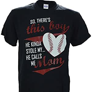 So, Theres This Boy, He Kinda Stole My Heart... He Calls Me Mom on a Black Short Sleeve T Shirt - Baseball