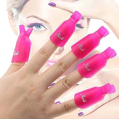 Heavy Duty 10Pcs Plastic Acrylic Nail Art Soak Off Clip Cap UV Gel Polish Remover Wrap Nail