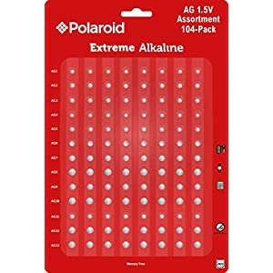 Polaroid Extreme Alkaline Assorted 1.5 Volt Round Coin Button Cell Batteries Full AG Set AG1 AG2 AG3 AG4 AG5 AG6 AG7 AG8 AG9 AG10 AG11 AG12 AG13 Bulk Variety Pack Mercury 0% Hg (104-Pack)