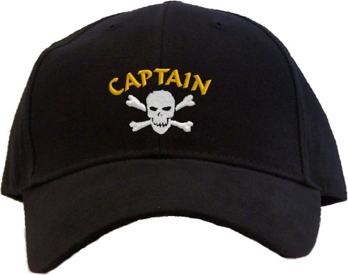 Pirate Captain with Skull and Crossbones Embroidered Baseball Cap - Black for $<!--$15.95-->