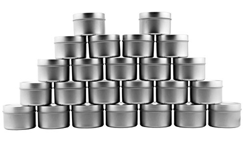 4-Ounce Metal Tins/Candle Tins (24-Pack); Round Containers with Slip-On Lids for Party Favors, Candle Making, Spices, Gifts ()