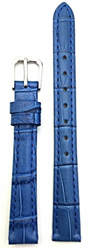 12mm Royal Blue, Alli Croco Grained Leather Watch Band