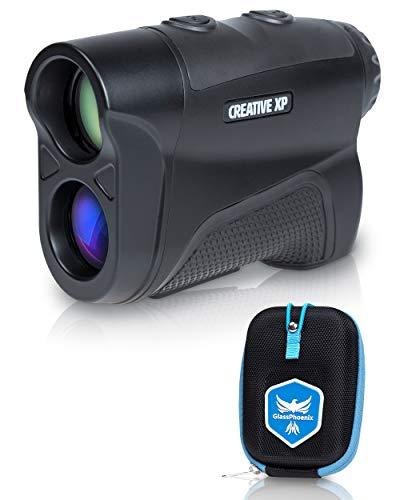 Telémetro de golf CREATIVE XP de 1100 yardas - Telémetro para caza y tiro con arco, telémetros digitales 6X con modo de pendiente, bloqueo de bandera profesional y compensación de ángulo - Estuche y correa de mano - Color negro