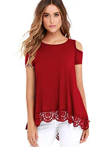 (ZEGOLOWomen's Tops Short Sleeve Lace Trim O-Neck A-Line Tunic Blouse Tops for Women Red Medium)