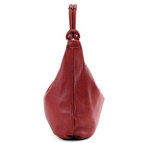 de cuir sac femme Sac besace italien Naht sac sac en Dunkelrot cabas 337 cuir à en main Weiße 7w0qxw85