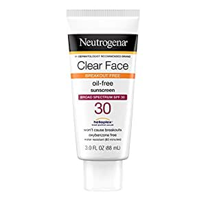 Neutrogena Clear Face Liquid Lotion Sunscreen for Acne-Prone Skin, Broad Spectrum SPF 30, Oil-Free and Fragrance-Free, 3 fl. oz