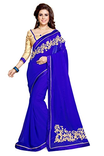 Women's Bollywood Indian Saree Faux Georgette Embroidered Fancy Sari Mirchi Fashion Partywear Dress