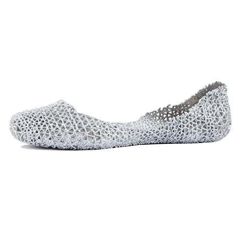Closed Heart - Guilty Heart - Womens Flat Jelly Slip On Crystal Closed Toe Hollow Out Flats, Silver, 9 B(M) US
