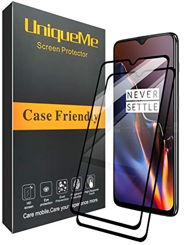 [2 Pack] INGLE Compatible with Oneplus 6T Screen Protector, Full Coverage Tempered Glass Screen Protector Film Edge to Edge Protection for Oneplus 6T