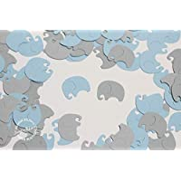 Baby Elephants Table Confetti | 100 pcs | Light Blue and Gray Baby Shower Decoration