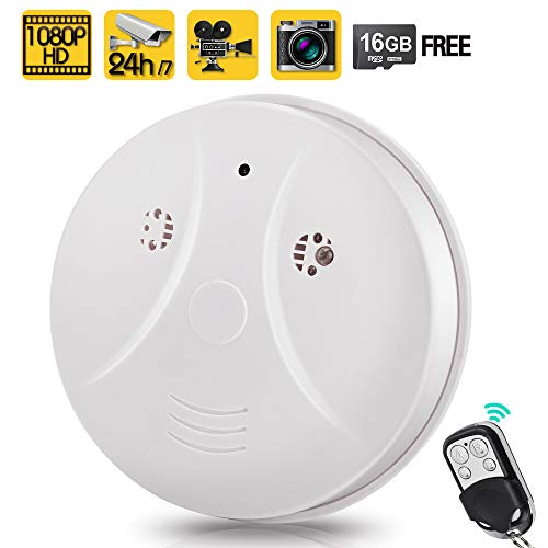 Toughsty 16GB 1080P HD Home Security Camera Recorder Smoke Detector Fire Alarm Hidden Spy Cam Motion Activated 24 Hour Surveillance
