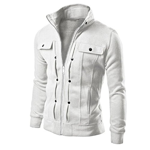 Forthery Men's Stand Collar Active Lightweight Slim Zipper Bomber Jacket (L, White)