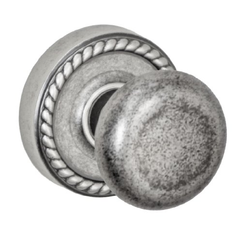 (Fusion Hardware D-01-Z8-E-ATP Elite Collection Half-Round Dummy Knob with Rope Rose, Antique Pewter)