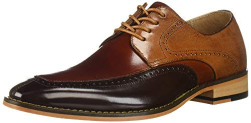 STACY ADAMS Men's Sanford Moc-Toe Lace-Up Dress Oxford, Brown/Multi 13 M US ()