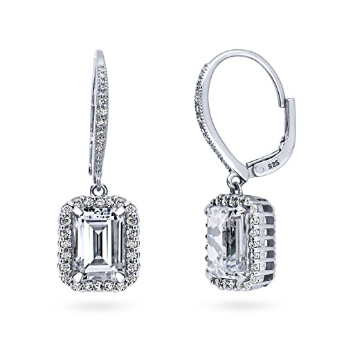 BERRICLE Rhodium Plated Sterling Silver Emerald Cut Cubic Zirconia CZ Halo Leverback Anniversary Wedding Dangle Drop Earrings