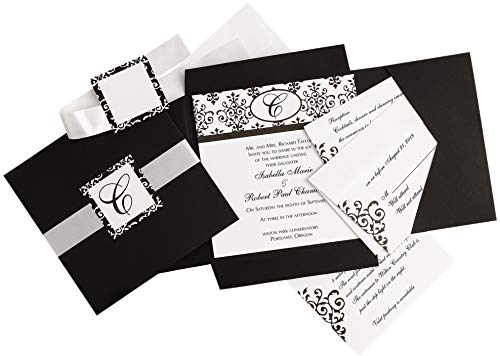 Simplicity Black and White Scroll Wedding Invitation Kit, 25pc, 6'' W x 6'' H - -