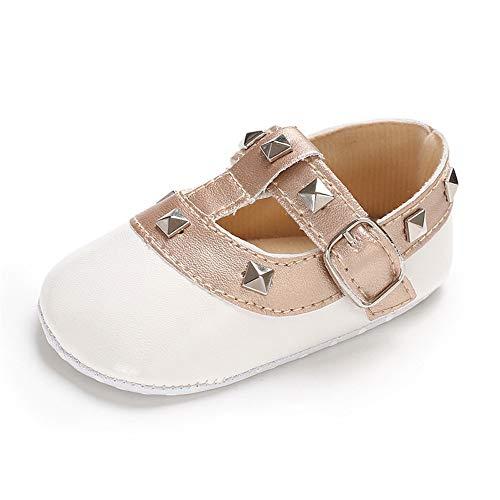 Lite Walker Shoe - Sabe Infant Baby Girls Soft Sole Prewalker Crib Mary Jane Shoes Princess Light Shoes (12cm(6-12 Month), F-White)