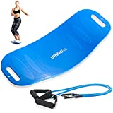 URBNFit Swivel and Twist Board - Balance Fit Board for Exercise and Fitness - Comes with 2 Attachable Resistance Bands for Full Body Workout and Muscle Toning (Blue)