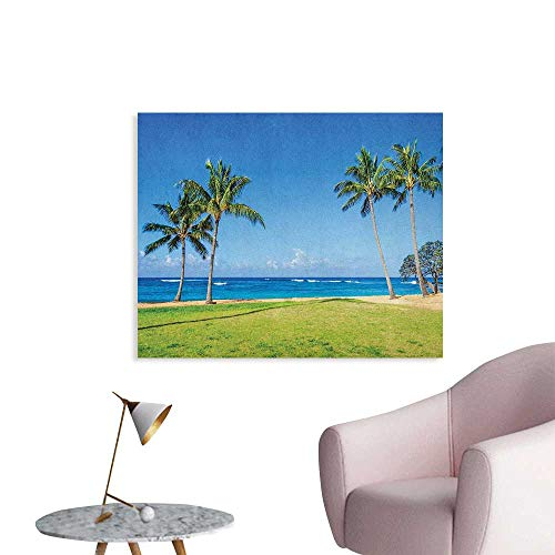 Anzhutwelve Hawaiian Wallpaper Coconut Palm Trees and Lawn on The Sandy Poipu Beach in Hawaii Kauai Picture Print Wall Poster Blue Green W36 xL32]()