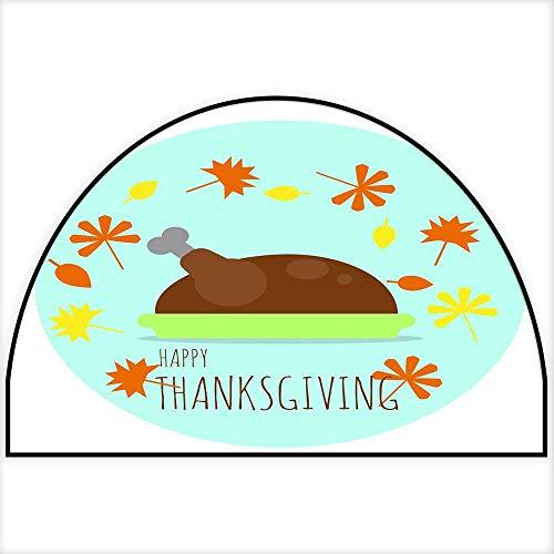 Hua Wu Chou Half Round Coir Door mathalf Round Dog mat W35 x H23 INCH Happy Thanksgiving Turkey on The Plate with Fallen Autumn Leaves