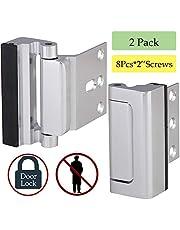 """Home Security Door Lock, Childproof Door Reinforcement Lock with 2"""" Stop 8 Screws Withstand 800 lbs for Inward Swinging Door, Upgrade Night Lock to Defend Your Home"""