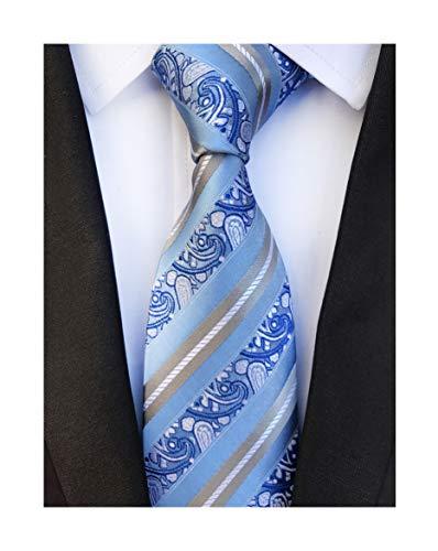 Silk Tonal Tie Blue (Men's Silk Slim Ties Sky Blue Grey White Stripe Paisley Neckties Valentine's day)