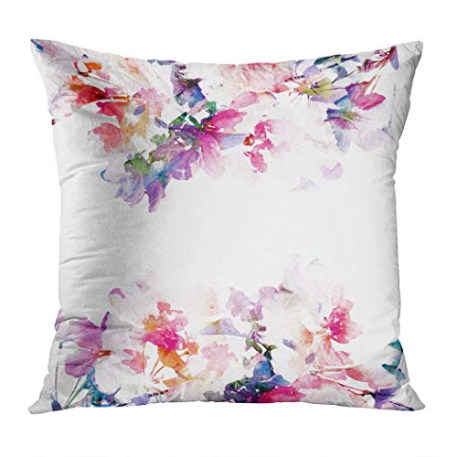 Makkier Throw Pillow Cover Polyester Floral Background Roses Watercolor Bouquet Home Decorative Sofa Couch Bedroom Living Room Car Pillowcases Cushion 20 x 20 Inch