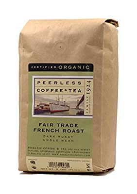 Peerless Whole Bean Coffee, Fair Trade, Organic, French Roast, 2 Pounds