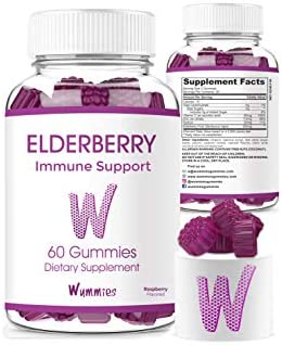 Wummies Premium Elderberry Gummies Vitamins. Supports Immune System Health Herbal Supplement
