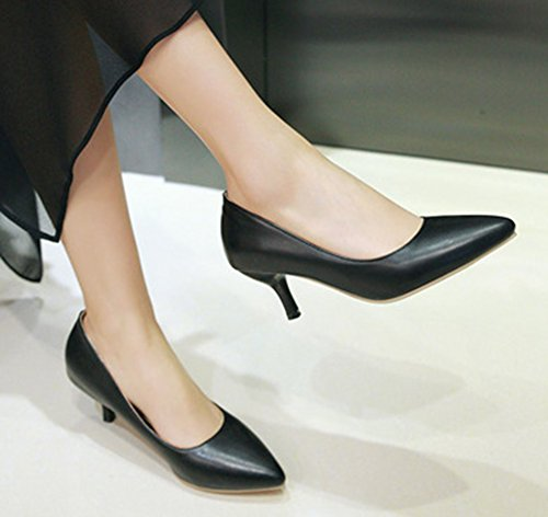 Aisun Womens Simple Low Cut Puntige Teeny Stiletto Kitten Hakken Slip Op Slijtage Aan Het Werk Pumps Schoenen Zwart