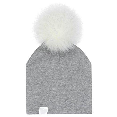 Fur Christmas Soft Stocking (Kollmert Cute Infant Baby New Winter Print Warm Faux Fur Ball Hat Soft Beanie Cap (F))