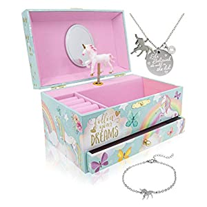 Best Epic Trends 41lO1cpGVnL._SS300_ Unicorn Musical Jewelry Box for Girls - Unicorn Jewelry Set Included - 3 Unicorns Gifts for Girls makes ideal Unicorn…