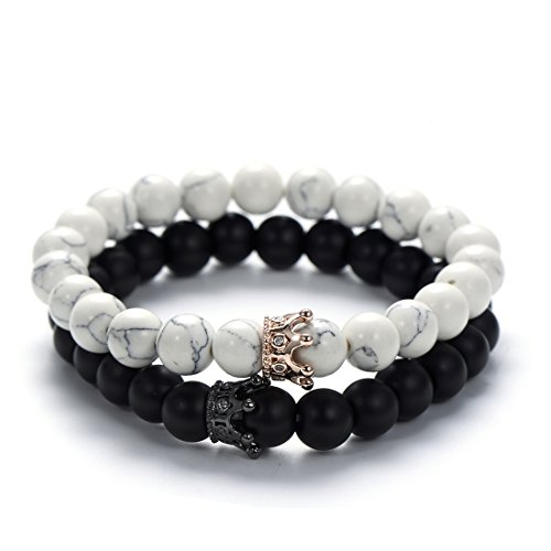 5f53b3ab4c VEKNO King&Queen CZ Crown Bracelets 8mm Natural Stone Beads Couple Bracelet  Friendship Gift