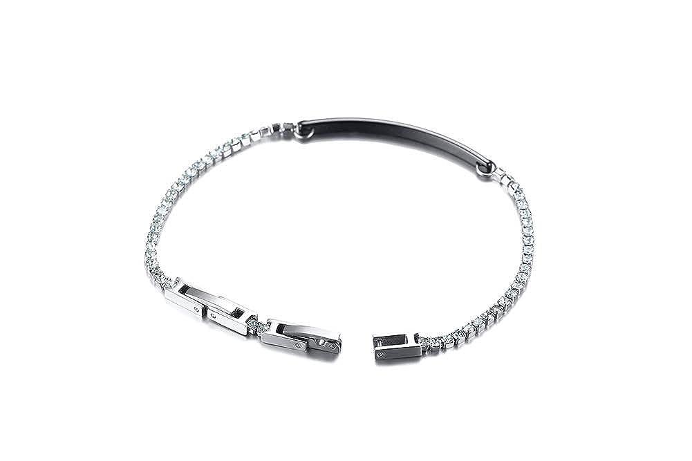 XUANPAI Personalized Custom Engraving Ceramic ID Tag Tiny Bar Bracelet Cubic Zircon Link ID Bracelet,Adjustable