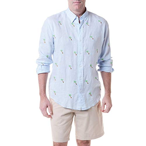 Castaway Apparel - Castaway Clothing Straight Wharf Linen Shirt with Embroidered Palm Tree