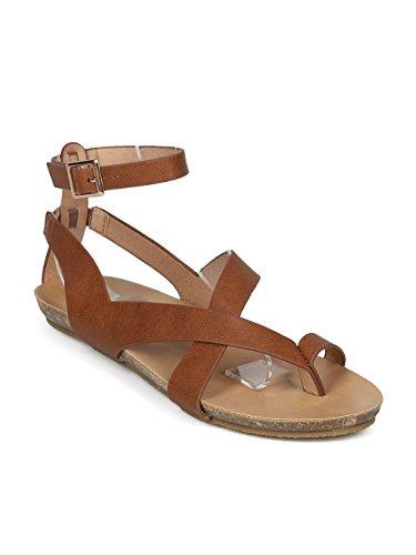 Sandalo Piatto Alambicco Donna Infradito In Pelle Con Cinturino Infradito - Hh19 By Refresh Collection Tan Leatherette