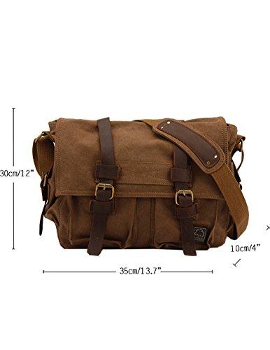 Daypack Bags Casual Messenger Vintage Menschwear Spalla Canvas Bag Pacchetto Laptop Dell'imbracatura Caffè qt8ZwBn