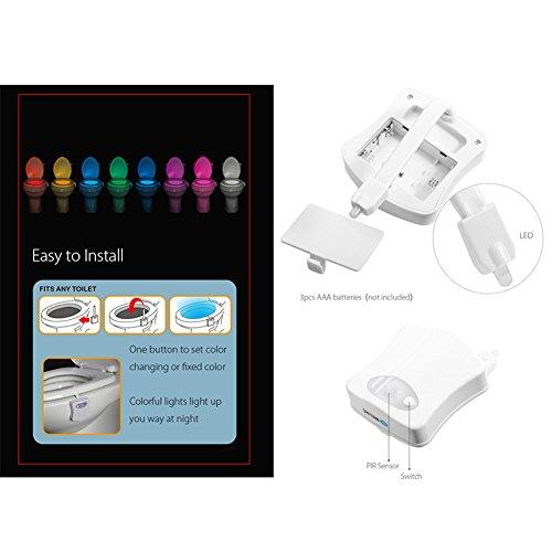 on sale S.B.T Magic Sensor Toilet Light LED Lamp Human Motion Activated Lamp PIR 8 Colors Automatic RGB Night Lighting