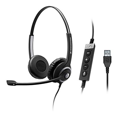 (Sennheiser SC 260 USB MS II (506483) - Single-Sided Business Headset | For Skype for Business, Softphone, and PC | with HD Sound, Noise-Cancelling Microphone (Black))