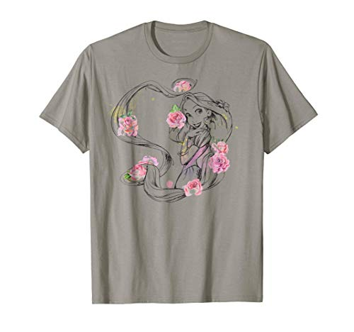 Disney Tangled Rapunzel Watercolor Floral Style T-Shirt]()