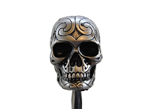 Gear Shift Rod - Silver Tone Carved Celtic Zombie Tattoo Skull Head Hot Rod Auto Gear Shift Knob / Decor