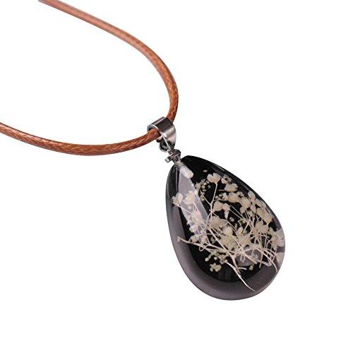(Charm Luminous Dried Flower Gemstone Teardrop Pendant Necklace Healing Chakra Vintage Handmade Jewelry for Women (Black))