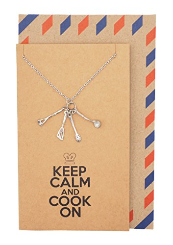 Quan Jewelry Kitchen Utensils Pendant Necklace, Funny Mother's Day Gifts with Greeting - Funny Jewelry Humor