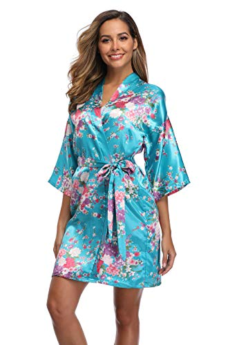 iFigure Women Floral Kimono Robe Satin Bridal Dressing Gown Bride Bridesmaid Robes Sleepwear, Lake Blue, -