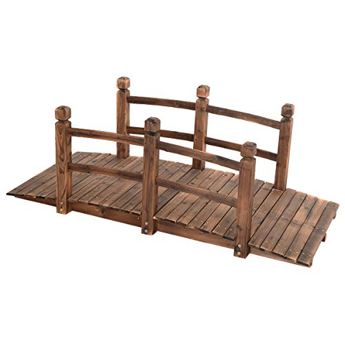 Giantex 5' Garden Bridge Wooden Stained Finish Decorative Pond Bridge Arch Backyard Walkway w/Railings, Brown -