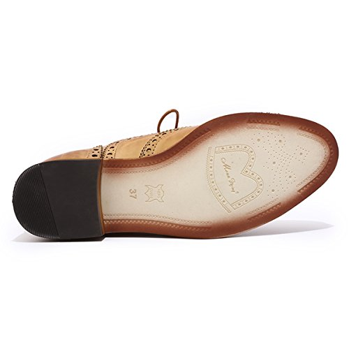 Brougue 2 Shoes Perforated Lace Leather Wingtip Brown for Shoes Flying Oxfords Mona Women Women's up Multicolor qSpx7
